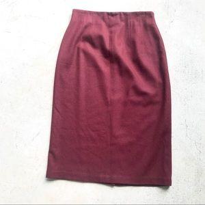 Vintage Savannah Burgundy 100% Wool Midi Skirt
